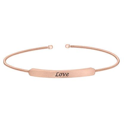 Sterling Silver Rose Tone 'Love' Cuff Bracelet