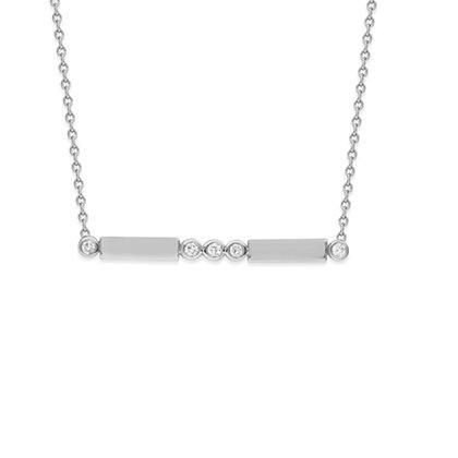 14K White Gold Diamond Bezel and Bar Adjustable Necklace