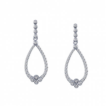 Sterling Silver Platinum Finish Charming Drop Earrings