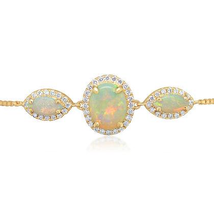 Austrialian Opal & Diamond Bolo Bracelet