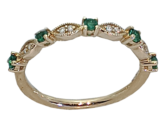 14K Yellow Gold Ring with Diamonds and Emeralds