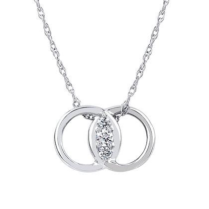 14K White Gold Diamond Marriage Symbol Necklace