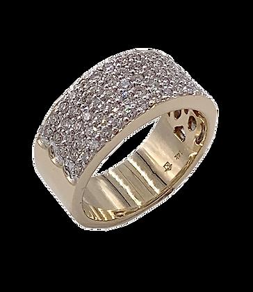 14K Yellow Gold Diamond Five Row Anniversary Ring