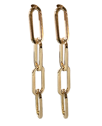 Sterling Silver Paper Clip Chain Gold Finish Earrings