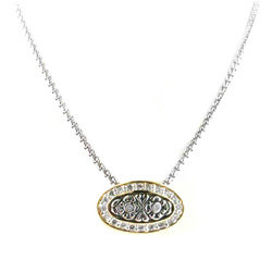 Oval Pave Slider Chain Necklace Silver Tone