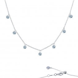 "Sterling Silver Platinum Finish Motion Raindrop 18"" Necklace"