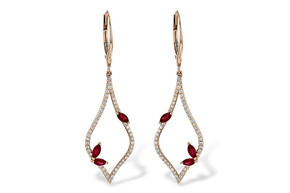 14K Rose Gold Ruby and Diamond Drop Earrings
