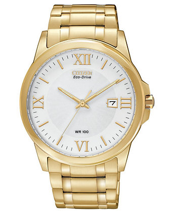 Corso Stainless Steel Eco-Drive Gold Tone Dress Watch