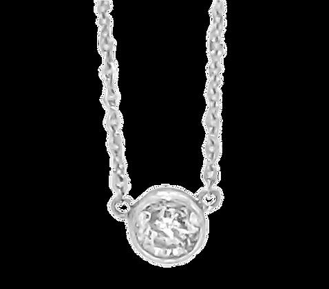 14K White Gold Bezel Set .35 cttw Diamond Necklace