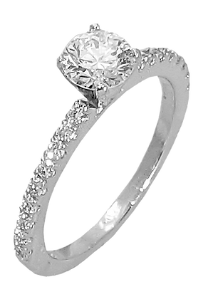 14K White Gold Diamond Engagement Ring .26 cttw