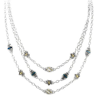 Pave 3 Strand Bead Silver Tone Necklace