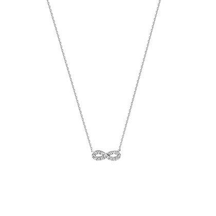 14K White Gold CZ Infinity Necklace