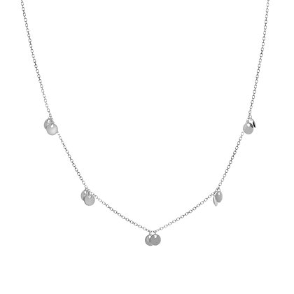 14K White Gold Double Dangle Disc Necklace