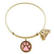 Pink Enameled Paw Print Charm Bangle