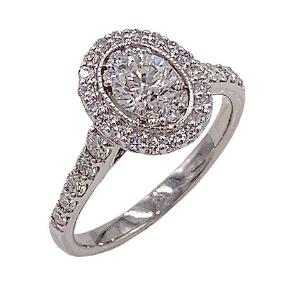 14K White Gold Oval Diamond Engagement Ring with Halo