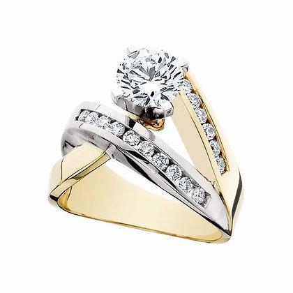 14K Two-Tone and Diamond Semi Ring
