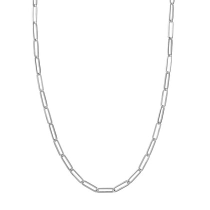 "14K White Gold Paper Clip Chain 18"" Necklace"