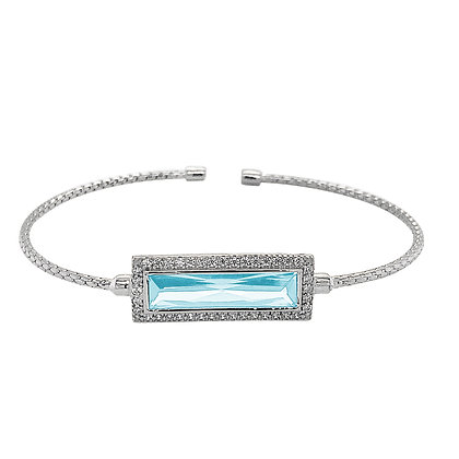 Sterling Silver March Birthstone Cuff Bracelet
