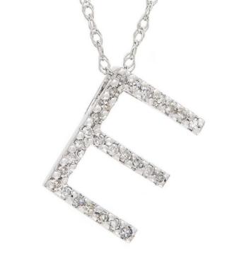 14K White Gold Letter E Diamond Initial Block Necklace