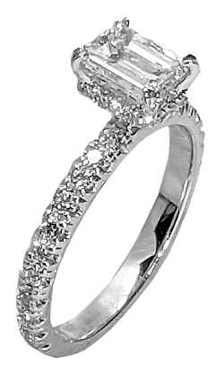 14K White Gold Diamond Engagement Ring with Hidden Halo