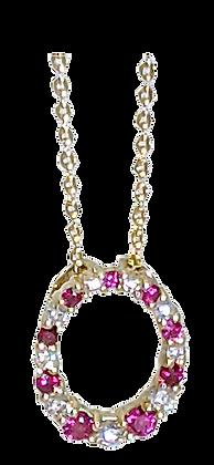 14K Yellow Gold Ruby and Diamond Pendant