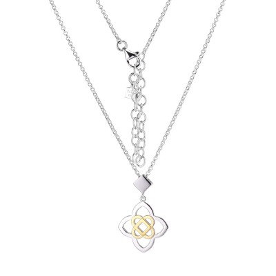 Sterling Silver Two Tone Four Point Necklace