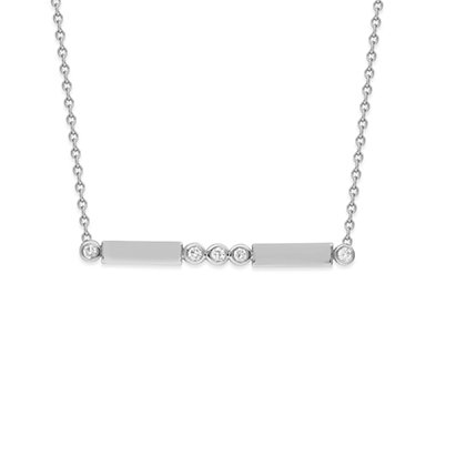 14K White Gold .20 ct. Diamonds and Bars Necklace