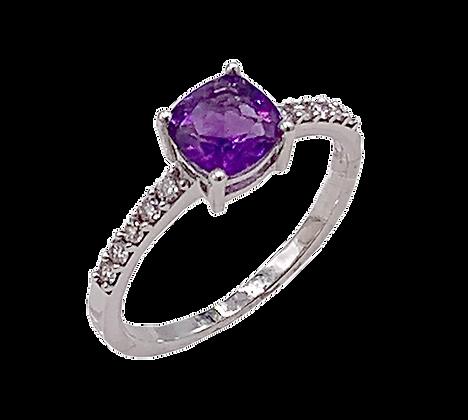 14K White Gold Amethyst & Diamond Ring