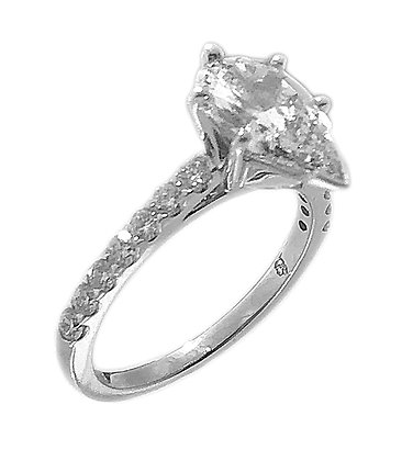 14K White Gold Pear Shape Diamond Ring