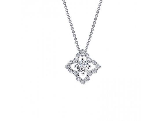 Sterling Silver Platinum Finish Flower Drop Necklace