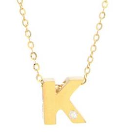 One Diamond 14K Initial Necklace