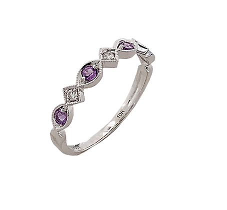 10K White Gold Amethyst & Diamond Stack Ring