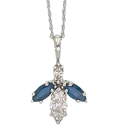 14K White Gold Sapphire and Diamond Necklace