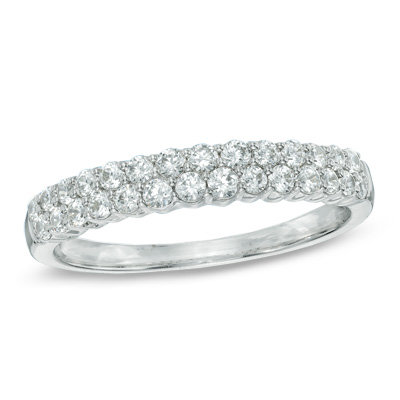 White 14 K 2 Row Anniversary Diamond Ring