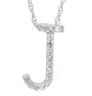 14K White Gold Letter J Diamond Initial Block Necklace