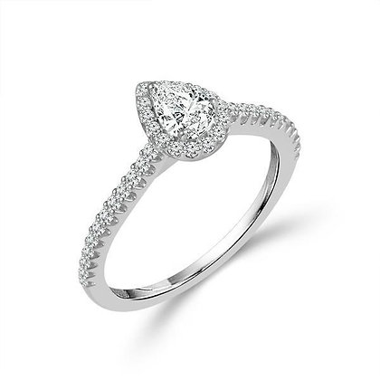 14K White Gold Pear Cut Diamond Engagement Ring with Halo