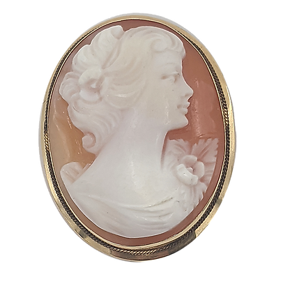 Italian Carved Shell Cameo with 18K Frame