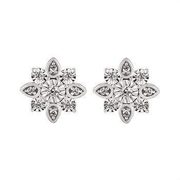 14K White Gold Diamond Post Earrings