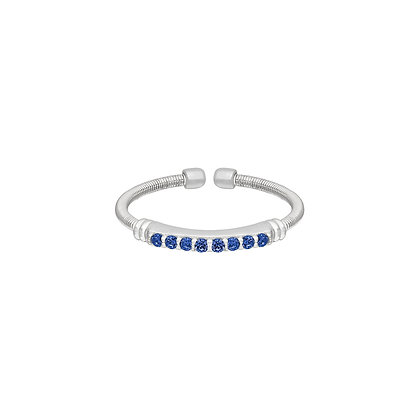 Sterling Silver September Birthstone Cable Cuff Ring