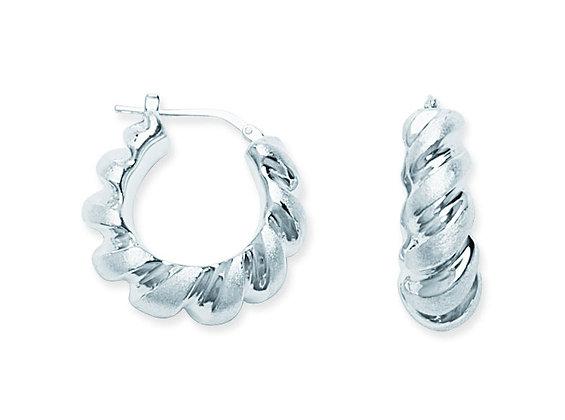 Sterling Silver Medium Twisted Hoops