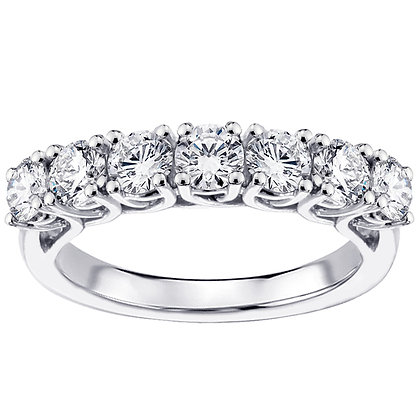 White Gold 14K Seven Diamond Wedding Ring