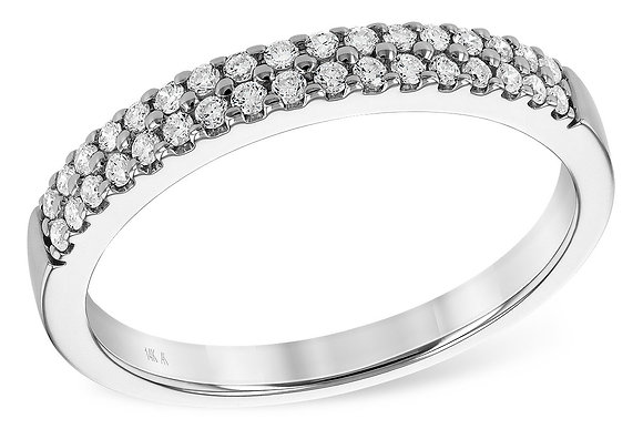 14K Diamond Two Row Wedding Ring