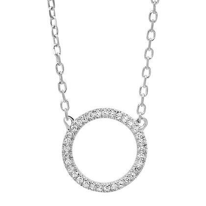 14K White Gold Circle Diamond Necklace