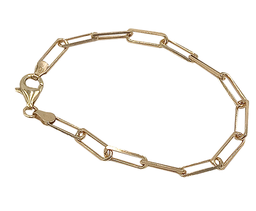 Sterling Silver Paper Clip Chain Gold Finish Bracelet