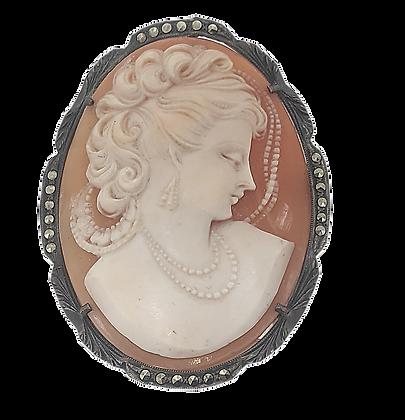 Italian Carved Shell Cameo Pin