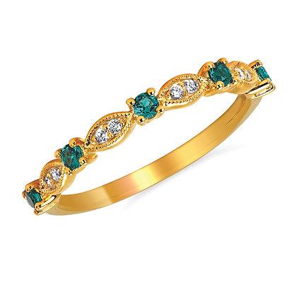 14K Yellow Gold Emerald & Diamond Ring