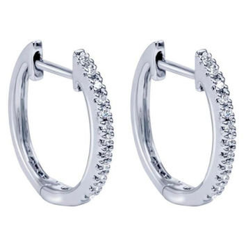 Diamond Earrings White Gold 14K Hoops