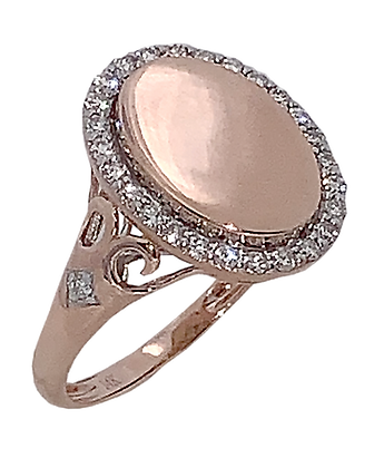 14K Rose Gold Diamond Signet Ring