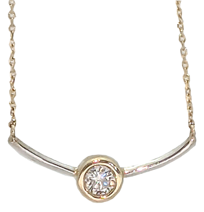 14K Two Tone Diamond Bezel Set Bar Necklace