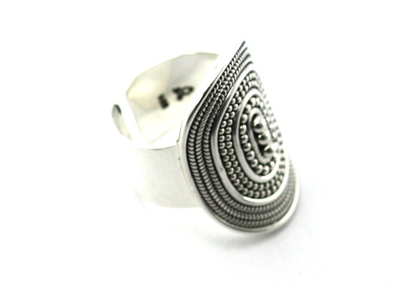 Bola Silver Cigar Ring Adjustable